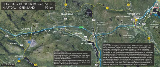 Slik mener Vegforum Øst–Vest at traséen for ny E134 bør være på strekningen Saggrenda–Gvammen.