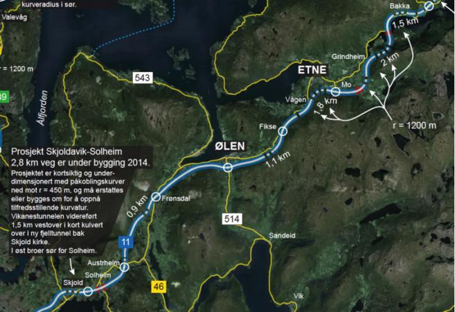 Vegforum Øst–Vests forslag til ny trasé for E134 på strekningen Solheim–Bakka.
