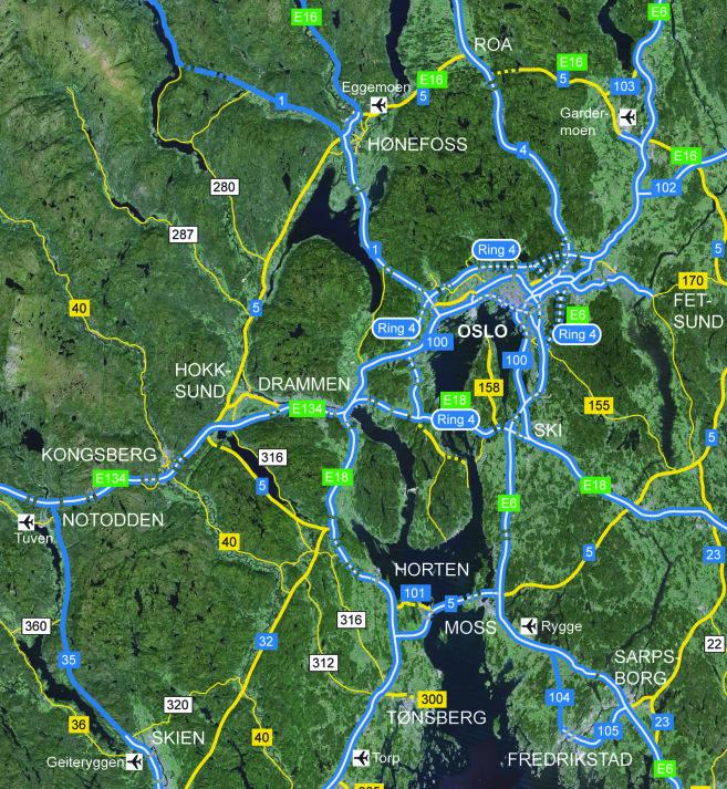 Ny Oslofjordbro over nordre Håøya vil være en naturlig forbindelse fra E6 mot E134 som en kommende hovedvei til Bergen, Haugesund og resten av Vestlandet til Stavanger-området. Trafikkgrunnlaget tilsier at forbindelsen bygges som firefelts motorvei, og selve fjordkryssingen må gå via bro og ikke tunnel – dette av sikkerhetsmessige, trafikale og miljømessige hensyn.