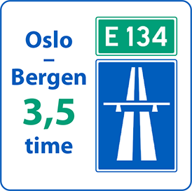 Med utgangspunkt i Vegforum Øst-Vest sine traséframlegg vil reiselengda frå Oslo til Bergen/Haugesund på E134-Miljøvegen med motorvegstandard, bli redusert til rundt 38 mil og reisetida til rundt 3,5 timar.
