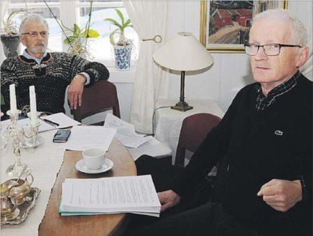 Asbjørn Gardsjord (t.v.) og Nicolai Østhus undrar seg over at regjeringa ikkje vil utgreie arm frå Odda til Bergen.
