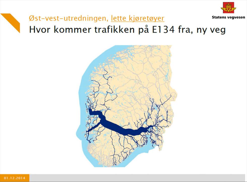 Kartet fra Statens vegvesen viser tydelig betydningen av at E134 får forgreninger til både Bergen og Haugesund. Underlig nok vil Høyre ikke ha en nødvendig utredning av armen til Bergen før etter at valget om nye hovedforbindelserer mellom øst og vest er tatt – til fordel for Rv7?