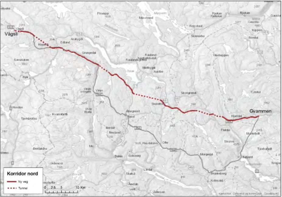 35 kilometer å spare: Nordlig trasé Gvammen–Vågsli over Rauland i rødt, dagens omvei om Seljord i grått lenger sør. Kart: Statens vegvesen.