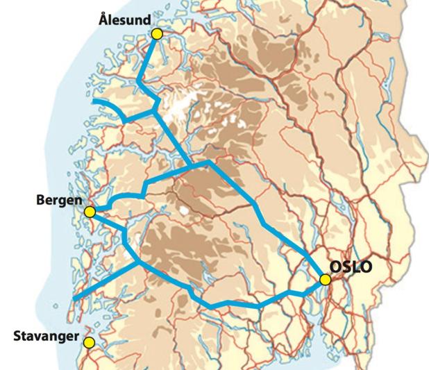 Kombinasjonen av E134 med bergensarm og Rv52 åpner for den beste forbindelsen mellom hele Østlandet og hele Vestlandet.