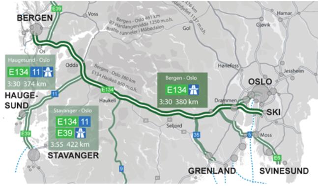 """""""Med kjøretider på ca. 4 timer mellom Oslo og Bergen (og tilsvarende til Haugesund) vil både gods- og persontransport få sterkt reduserte kostnader», skriver Erik Heirung og Jarle Strand. Kart: Organisasjonen Bedre Veier."""
